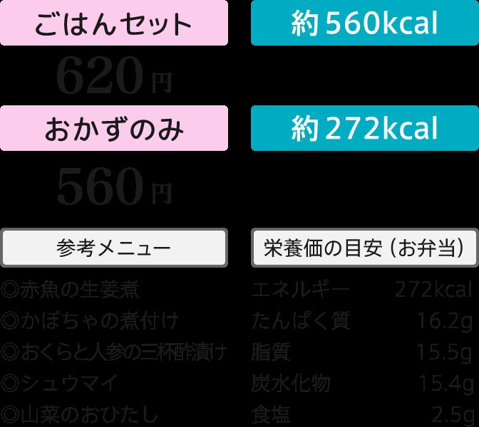 ごはんセット620円・おかずのみ560円