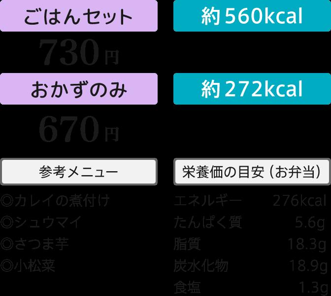 ごはんセット730円・おかずのみ670円